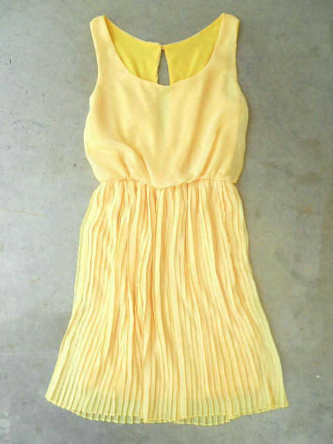 Yellow Pleated Daffodil Dress [9999] - $44.00 : Vintage Inspired Clothing & Affordable Summer Dresses, deloom | Modern. Vintage. Crafted.