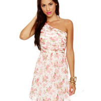 Pretty One Shoulder Dress - Floral Print Dress - $72.00