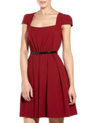 Dark Red Cap Sleeve Umbrella Dress
