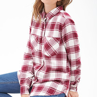 FOREVER 21 Classic Plaid Flannel Cream/Magenta