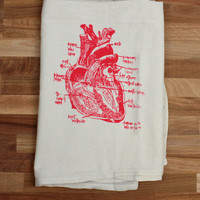 Anatomical heart diagram tea towel - unbleached cotton floursack kitchen towel