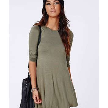 Long Sleeve Swing Dress Khaki