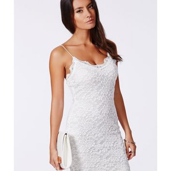 Lace Strappy Mini Dress White