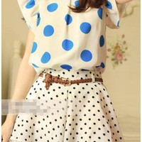 New Blue & White Vintage Inspired Flutter Polka Dot Blouse