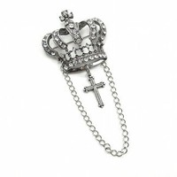 Gothic Lolita Jewelry - Crystal Crown and Cross Brooch by Ghostlove