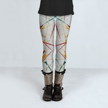 Colorful Splatter Abstract Shapes Print Leggings by Daniel Ferreira-Leites (Leggings)