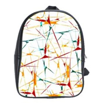 Colorful Splatter Abstract Shapes School Bag (XL)