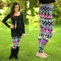 Geo-ing Chevron Crazy Patterned Leggings