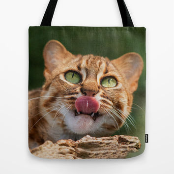RUSTY SPOTTED CAT LICK Tote Bag by Catspaws | Society6