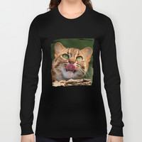 RUSTY SPOTTED CAT LICK Long Sleeve T-shirts by Catspaws | Society6