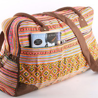 Large Vintage Traditional Weekender Bag/ College Bag/ Cross body Bag/ Overnight Bag/ Vacation Bag/ Suitcase/ Tribal, Bohemian Style
