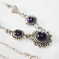 Art Deco SterlingAmethyst Cabochon Necklace  1930s Jewelry Hallmarked