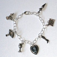 Silver Victorian Theme Charm Bracelet with Cameo and Travel Charms