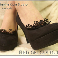 Lace socks for heels Flirty Footlet - lace footlets  / your favorite pumps will love this delicate lace peeking out - peep socks