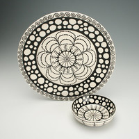 Platter and Bowl, Black and White Hand Painted Chip and Dip *