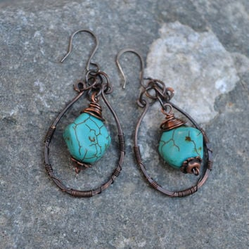 Gypsy Copper Earrings, Oxidized Rustic Earrings, Turquoise Magnesite, Bohemian Style, Boho, Unique, Wire Wrapped, Sterling Silver, Hoops