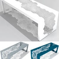 Hive Bench or Accent Table Made from Laser-Cut, Powder Coated Steel by Arktura - Pure Modern Design Contemporary Furniture