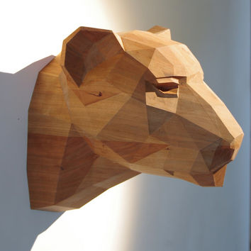 Wooden Leopard Head, Beautiful Cherrywood Sculpture, Geometric Design. Limited Edition