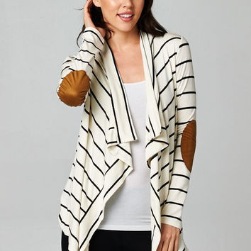 Ivory and Black Striped Cardigan with Elbow Patch