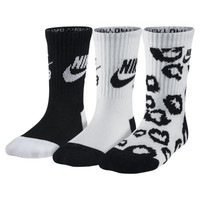 Nike SB Cheetah Spots Crew Kids' Socks 3 Pair - White