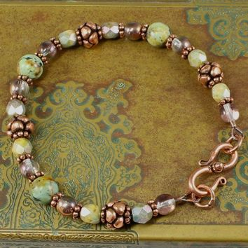 African Turquoise Bracelet Antiqued Copper Czech Glass Handmade