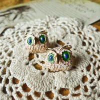 Colored Glaze Owl Earrings