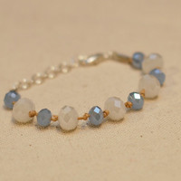 Sparkling Beaded Bracelet - Ice Blue and White Glass Bead Braceet w/ Tan Cord & Silver Clasp