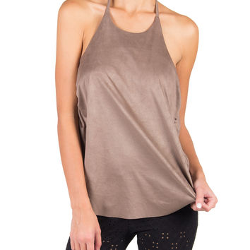 RUCHED SUEDETTE DRAPED BACK HALTER TOP - TAUPE