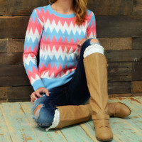 Poppy Forest Mint Chevron Sweater