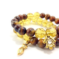 Goddess Protection Bracelet Stack, Yoga Inspired, Gemstone Beading, Tiger's Eye and Amber