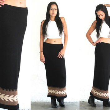 Vintage 90s Southwestern // Black Alpaca Wool Maxi Skirt // Sweater // XS Extra Small / Small / Medium