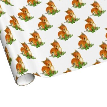 Baby Fox Holly Bird Christmas Wrapping Paper