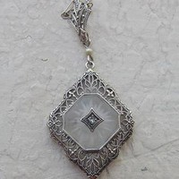 Antique 14K Filigree Crystal Diamond Necklace