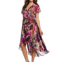 London Times Women's Printed Chiffon High Low Hem Dress
