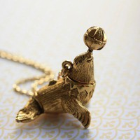 Long Sea Lion Locket Necklace, Nautical Pendant, Vintage Jewelry, Perfume Carrier, Secret Compartment, Circus Animal Locket