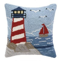 Coastal Home Decor & Gifts - Shop of the Sea — Beach Lighthouse Wool Hooked Pillow
