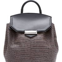 Alexander Wang Grey And Black Croc-embossed Negative Prisma Backpack