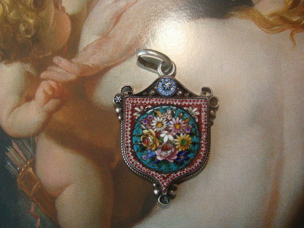 Antique Micromosaic silver pendant in the shape of a coat of arms