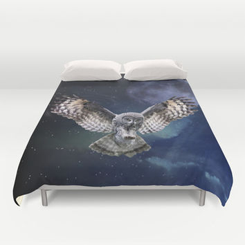 Owl in Flight and Blue Moon Duvet Cover by Erika Kaisersot