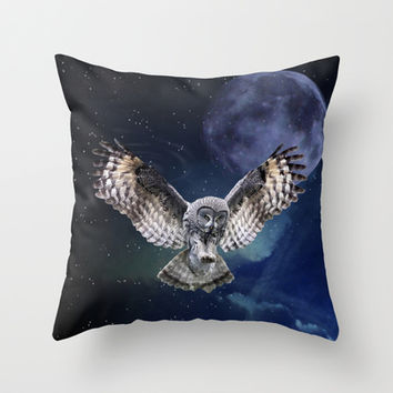 Owl in Flight and Blue Moon Throw Pillow by Erika Kaisersot