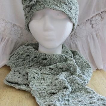 Hat and Scarf Set Crocheted Chenille Light Sage Ladies Small
