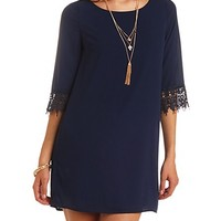 Lace Cuff Chiffon Shift Dress by Charlotte Russe - Navy
