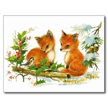 Baby Foxes Holly Christmas Postcard