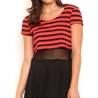 stripe crop top skater dress