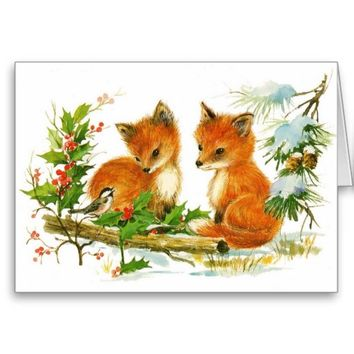 Baby Foxes Holly Christmas Card