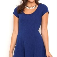 Textured Skater Dress with Cap Sleeves