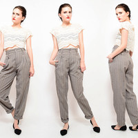 Vintage 80s 90s Gray Pin Stripe MENSWEAR Pants High Waist Pleated Front Menswear Steampunk Tapered Trousers extra small XS S
