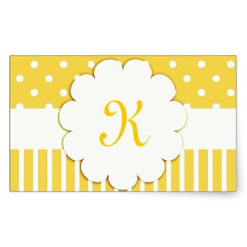 Yellow Monogram with Polka Dots and Stripes