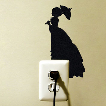 Victorian Lady With Parasol - Black Velvet Victorian Wall Art - Parasol Umbrella Wall Decal - Romantic Vintage Style Home Decor