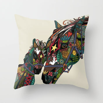 horse love stone Throw Pillow by Sharon Turner